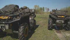 ATV in the mud, dirty quad bikes Stock Footage