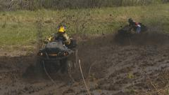 Extreme driving off-road quad Stock Footage