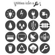 Utilities icon set Stock Illustration