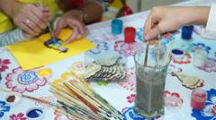 Children paint brush Arkistovideo