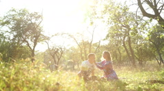 Dolly, lovers on picnic - stock footage