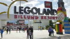 Legoland theme park entrance - Billund Denmark Stock Footage
