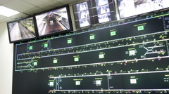 Subway control room pan Stock Footage
