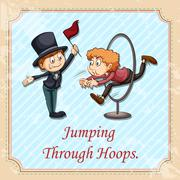 Idiom jumping through hoops Stock Illustration