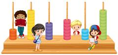 Children and math game Stock Illustration