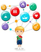South African boy with science symbols - stock illustration