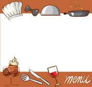 Menu design with culinary objects - stock illustration
