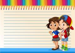International girls and line paper - stock illustration
