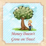 Idiom money doesn't grow on trees - stock illustration