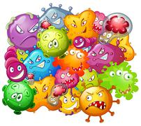 Germs with monster face - stock illustration