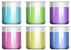 Liquid mixture in glass beaker - stock illustration