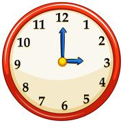 Round clock with red frame Stock Illustration