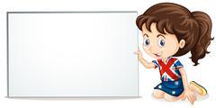 British girl and whiteboard - stock illustration