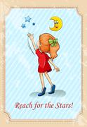 Old saying reach for the stars - stock illustration