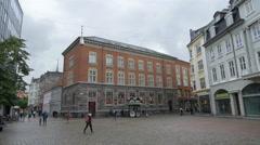 People in Lille Torv square - Aarhus Denmark Stock Footage