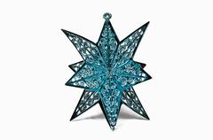 Blue star ornament on a white background Stock Photos