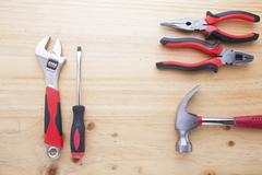 Difference tools on the wood table - stock photo