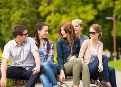 Stock Photo of group of students or teenagers hanging out