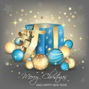 Christmas and New Year greetings with gift box, ornate elements, balls and go Stock Illustration