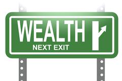 Wealth green sign board isolated - stock illustration