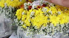 Flower bouquet preparing Stock Footage