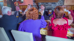 Relatives toasting on wedding in nice interior in restaurant - stock footage