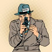 Journalist takes on retro camera. Paparazzi snooping tabloid Stock Illustration