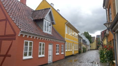 Historic street in the old precinct - Odense Denmark Stock Footage