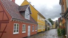 Historic street in the old precinct - Odense Denmark Stock Footage
