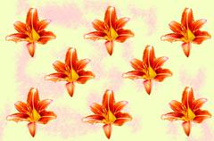 Abstraction with lily flowers on a yellow background Stock Illustration