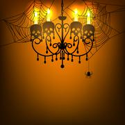 Chandelier and spiderweb Stock Illustration