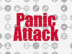 Medicine concept: Panic Attack on wall background - stock illustration