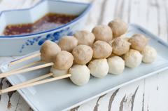 Roasted meat and pork balls with sweet spicy sauce Stock Photos