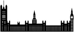 Image of cartoon Houses of Parliament and Big Ben silhouette. Vector illustra - stock illustration