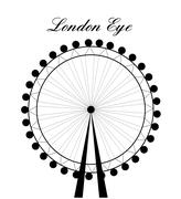 Image of cartoon London Eye silhouette with sign.Vector illustration isolated Stock Illustration