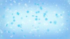 magic christmas snowfall on blue seamlss loop animation 4k (4096x2304) - stock footage