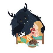 Little girl reading fairy tales to the monster Stock Illustration