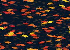 Stock Illustration of shoal of multicolored fish pattern