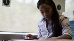 4K Beautiful young businesswoman working during train journey Stock Footage