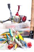 fishing tackles, fishing lure and fishing bait - stock photo