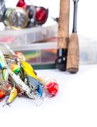 Fishing tackles, fishing lure and fishing bait Stock Photos