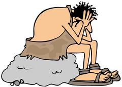 Stock Illustration of Depressed caveman