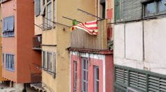 Girona river houses facade Stock Footage