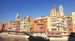 Girona colorful river houses view Stock Footage
