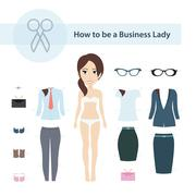 How to be a Business Lady Vector Set - stock illustration