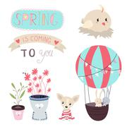 Stock Illustration of Spring is Coming Vector Set