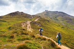 Climb on mountain Pop Ivan. Ukraine, Carpathians, Montenegrin Mountains. 2022 Stock Photos
