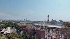 Barcelona from mount Montjuc Stock Footage