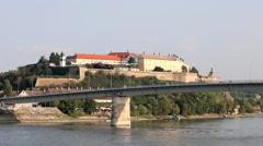 Petrovaradin fortress on Danube river Novi Sad Serbia Stock Footage