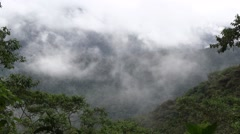 Fogg rolls in over mountain rainforests in the afternoon 1 Stock Footage